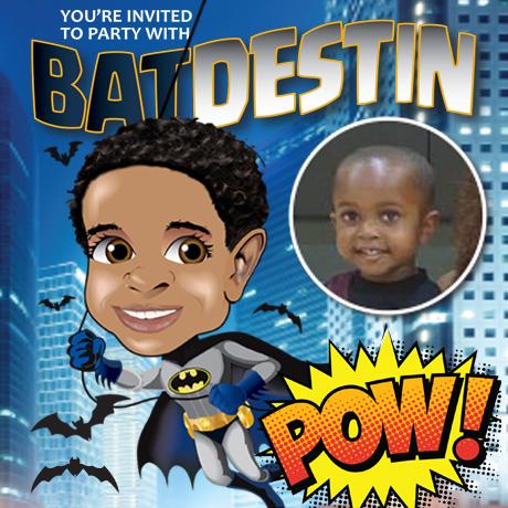 Bat Boy Caricature Party invitation