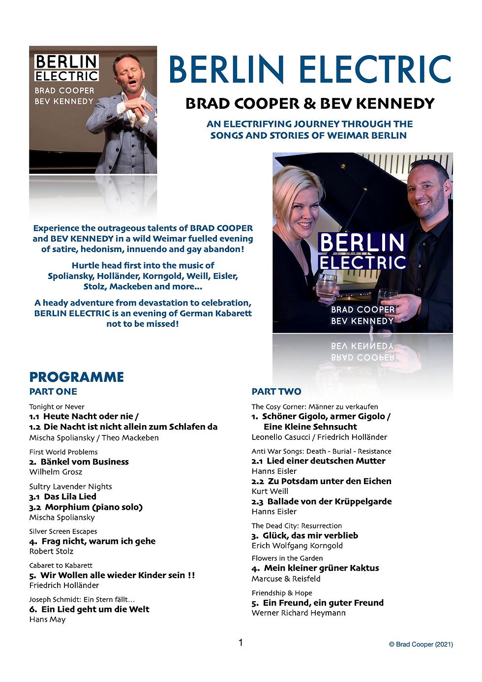 BERLIN ELECTRIC - BRAD COOPER & BEV KENN