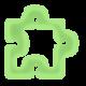 Pièce de puzzle vert