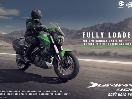 Bajaj Auto launches the new Dominar 400 with factory-fitted touring accessories at ₹ 2.17 lacs!