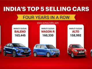 India's top 5 best-selling cars come from Maruti Suzuki four years in a row!