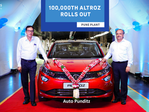Tata Motors rolls out the 1,00,000th unit of the Altroz!