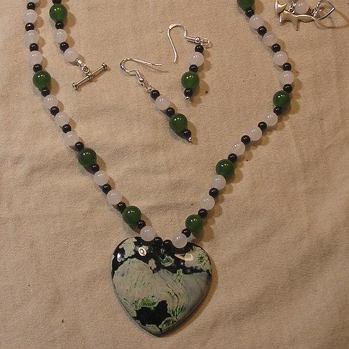 White, Green & Black Agate Heart Set