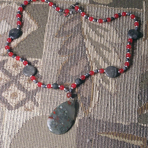 Scarlet & Grey African Bloodstone Teardrop Necklac