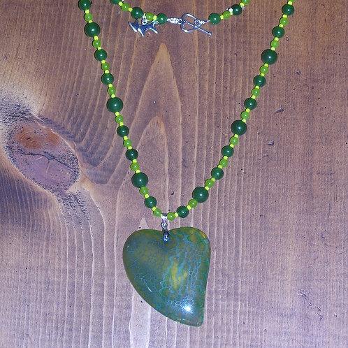Green Dragonvein Agate Heart Set