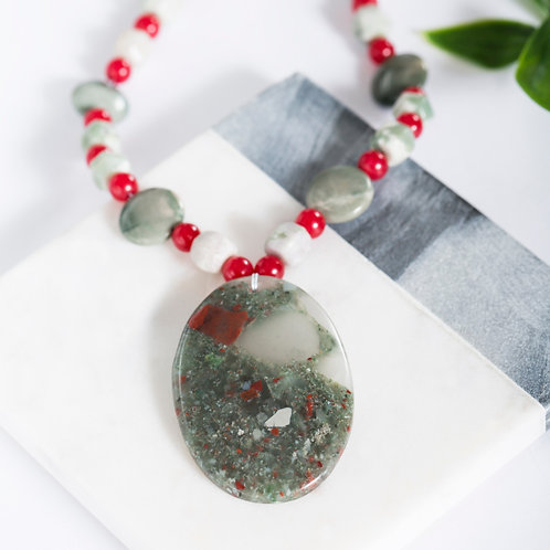 Scarlet & Grey African Bloodstone Oval Necklace