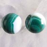 Green & White Agate Earrings