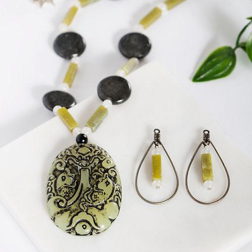 Olive Carved Jade Set