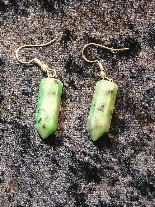 Mint Green Rice Spot Point Agate Point Earrings