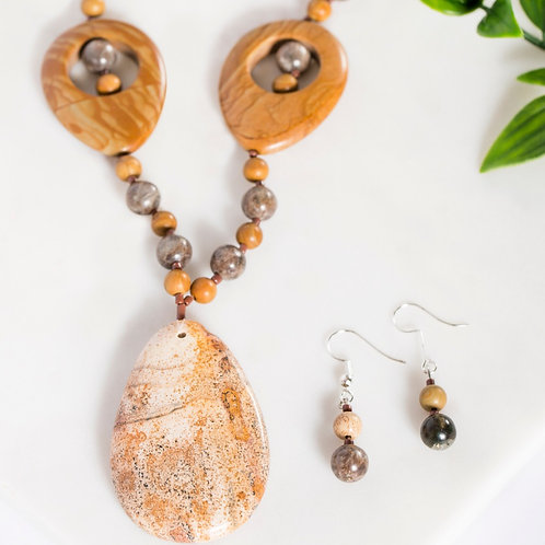 Khaki Jasper Teardrop Set