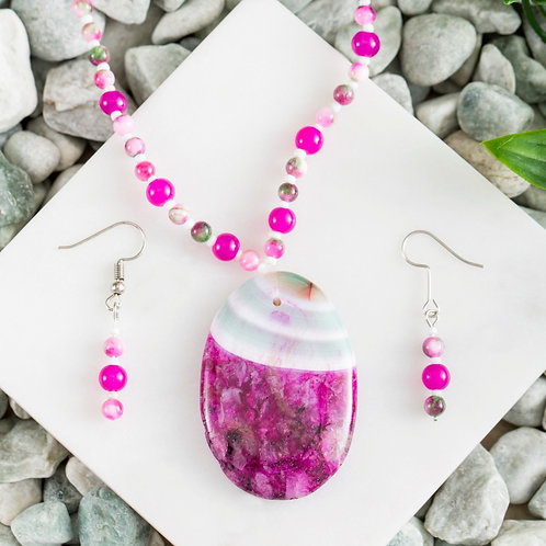 Rose & Green Agate Oval Set