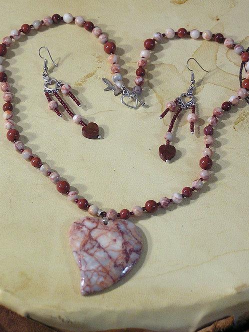 Red  Mesh Jasper Heart Set