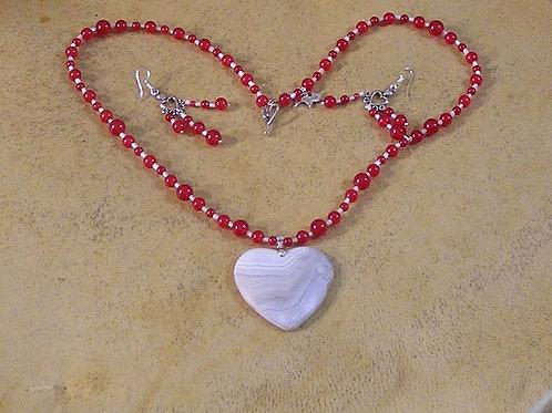 Red Jade & White Onyx Heart Set