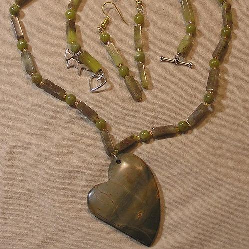 Olive Picasso Jasper Heart Set