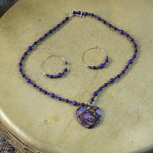 Purple & Copper Sea Sediment Jasper Heart Set
