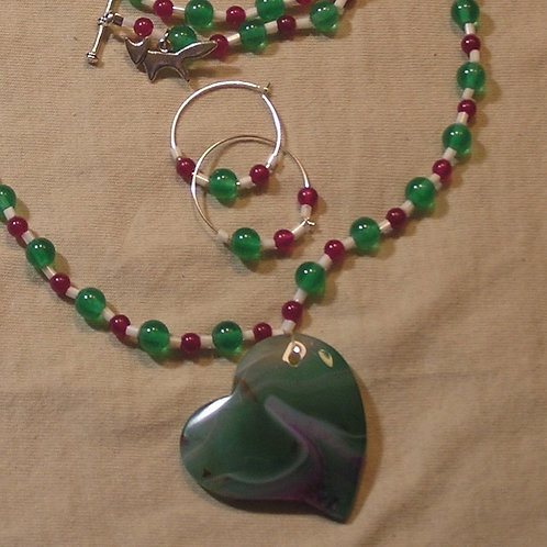 Green & Rose Agate Heart Set