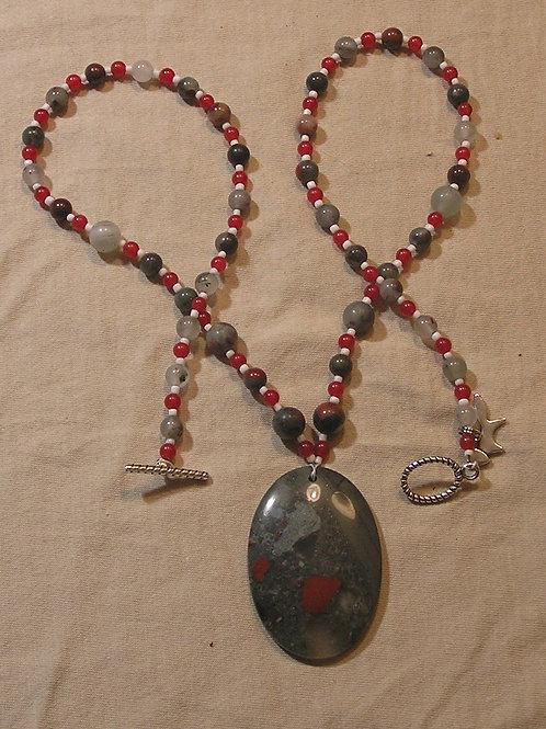 Scarlet & Grey African Bloodstone Oval Necklace
