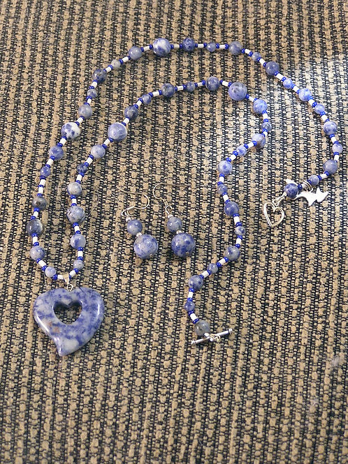 Small Sodalite Double Heart Set