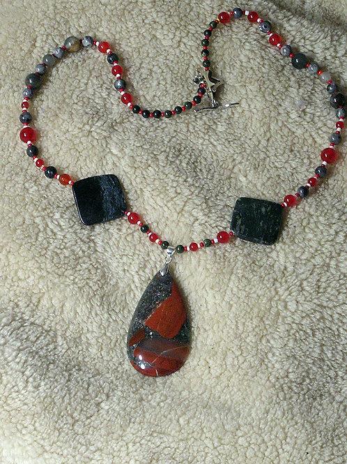 Scarlet & Grey African Bloodstone Teardrop Necklace 4