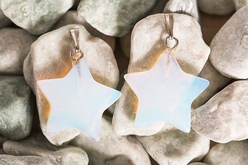 Iridescent White Moonstone Star Earrings
