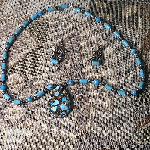 Turquoise Borite Teardrop Set