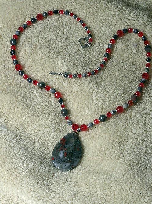 Scarlet & Grey African Bloodstone Teardrop Necklace