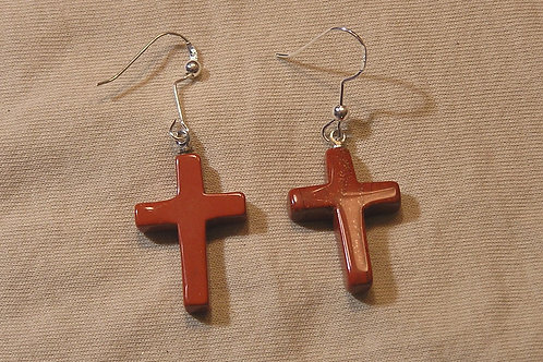 Red Jasper Cross Earrings