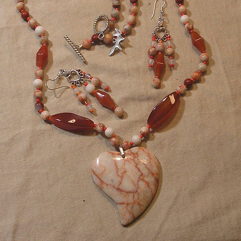 Red Mesh Jasper Heart Set