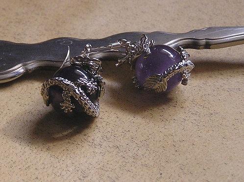 Dragon Wraped Amethyst Earrings