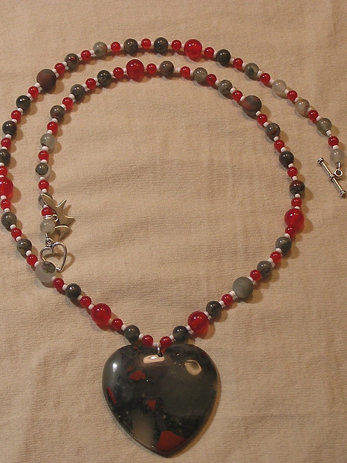 Scarlet & Grey African Bloodstone Heart Necklace