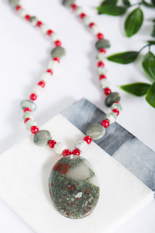 Scarlet & Grey African Bloodstone Oval Necklace 2