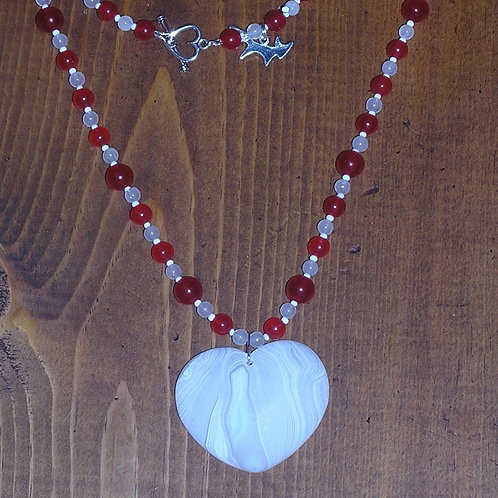 White Onyx Heart Set