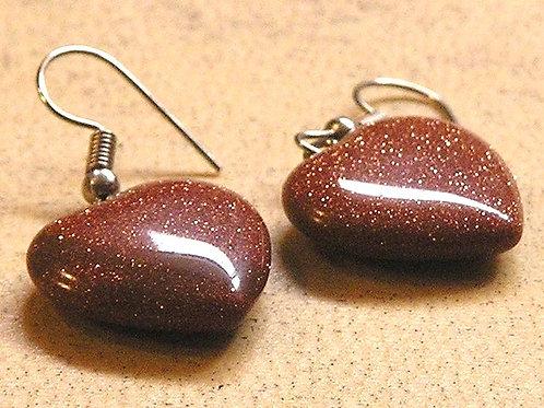 Goldstone Heart Earings
