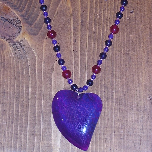 Purple Rose Dragonvein Agate Heart Set