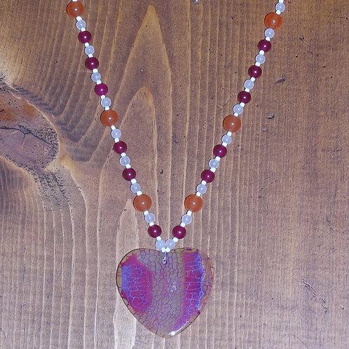 Red Orange Dragonvein Agate Heart Set