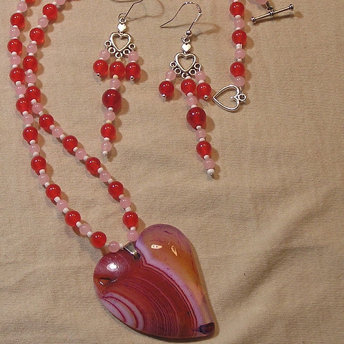 Pink & Red Agate Heart set
