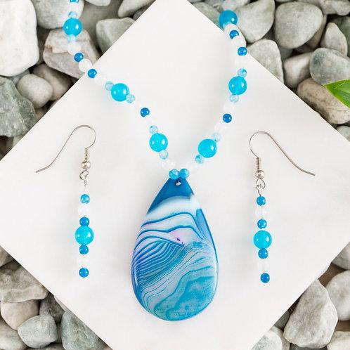 Blue Swirl Agate Teardrop Set