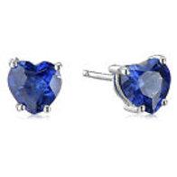 Deep Blue Topaz Heart Earrings