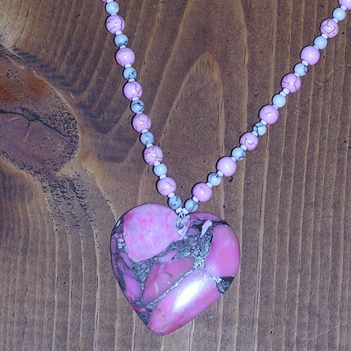Pink Borite Heart Set