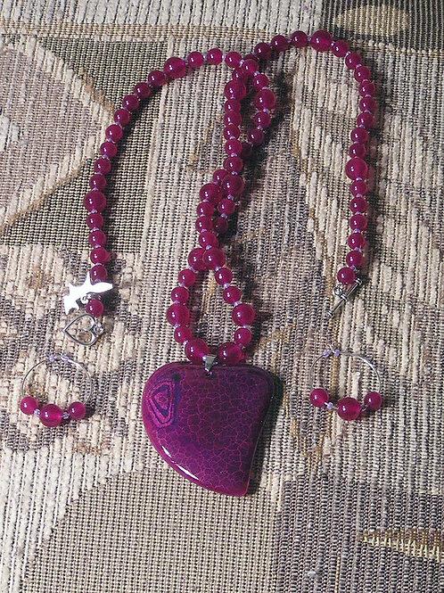 Cranberry Dragonvein Agate Lazy Heart Set