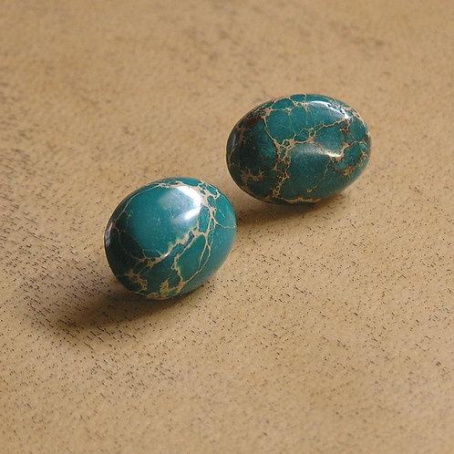 Turquoise Sea Sediment Jasper Oval Earrings