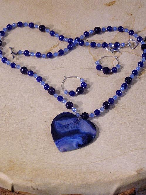 Mixed Blues Striped Agate Heart Set