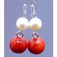 Red Agate & Pearl Earrings
