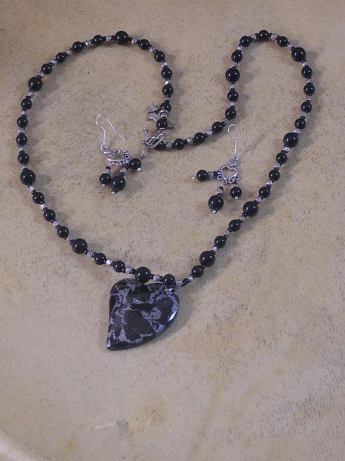 Black & Silver Hematite Lazy Heart Set