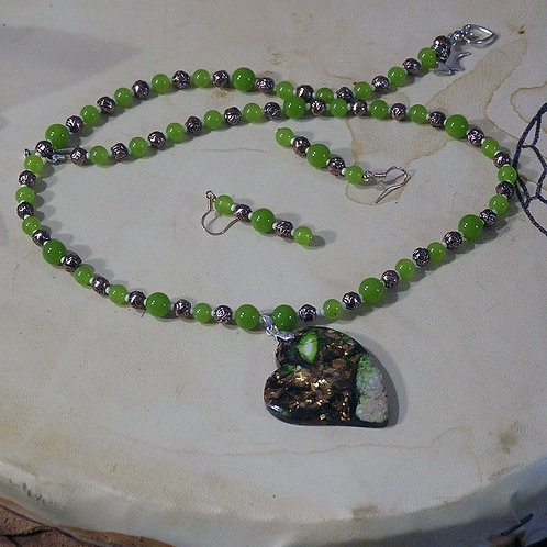 Copper & Green Sea Sediment Jasper Lazy Heart Set