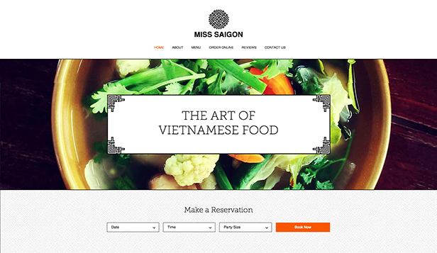 Restaurant website templates – Vietnamesisk restaurant