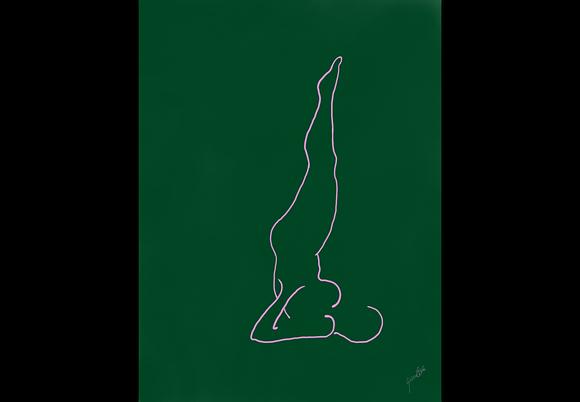 Green Shoulder Stand Postcard