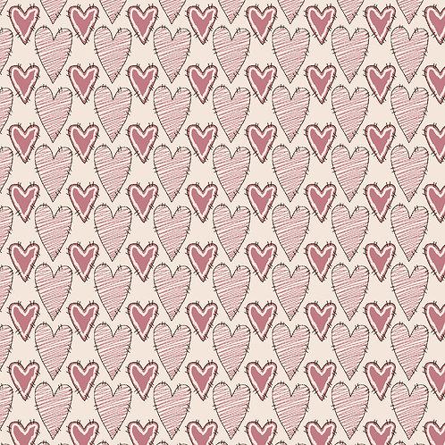 Corações riscados Rosa