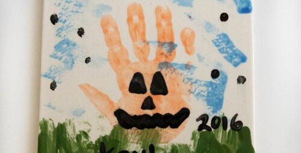 Pumpkin Hand Print Tile
