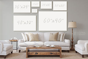 Canvas sizes for a living room
